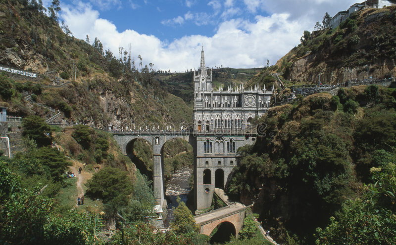 Las Lajas Church Colombia royalty free stock images
