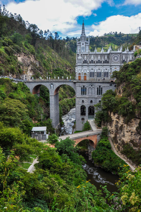 Las Lajas Church in South of Colombia royalty free stock image