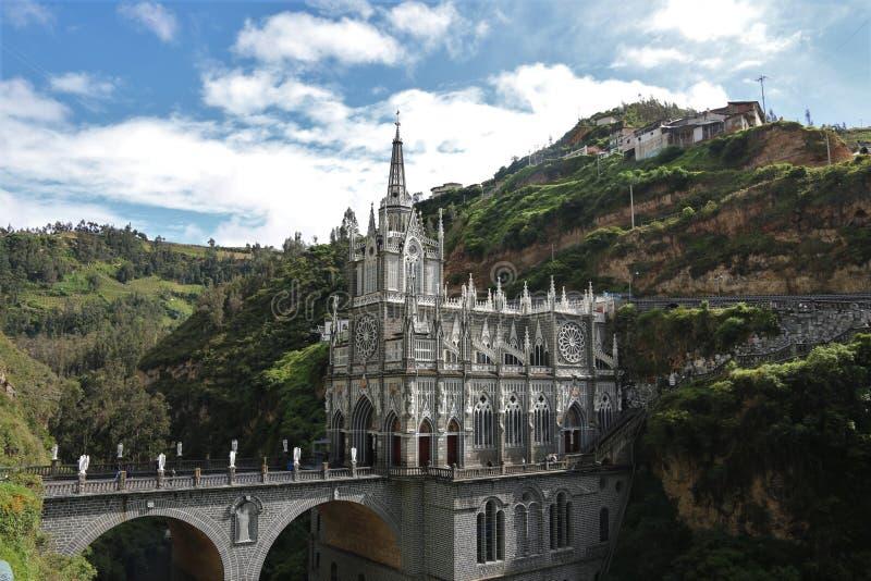 Las Lajas fristad Colombia royaltyfri fotografi