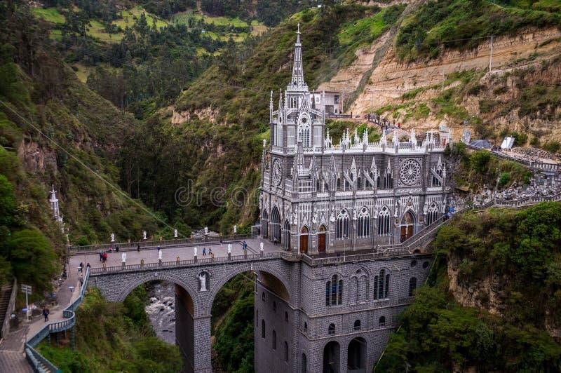 Las Lajas fristad - Ipiales, Colombia royaltyfria bilder