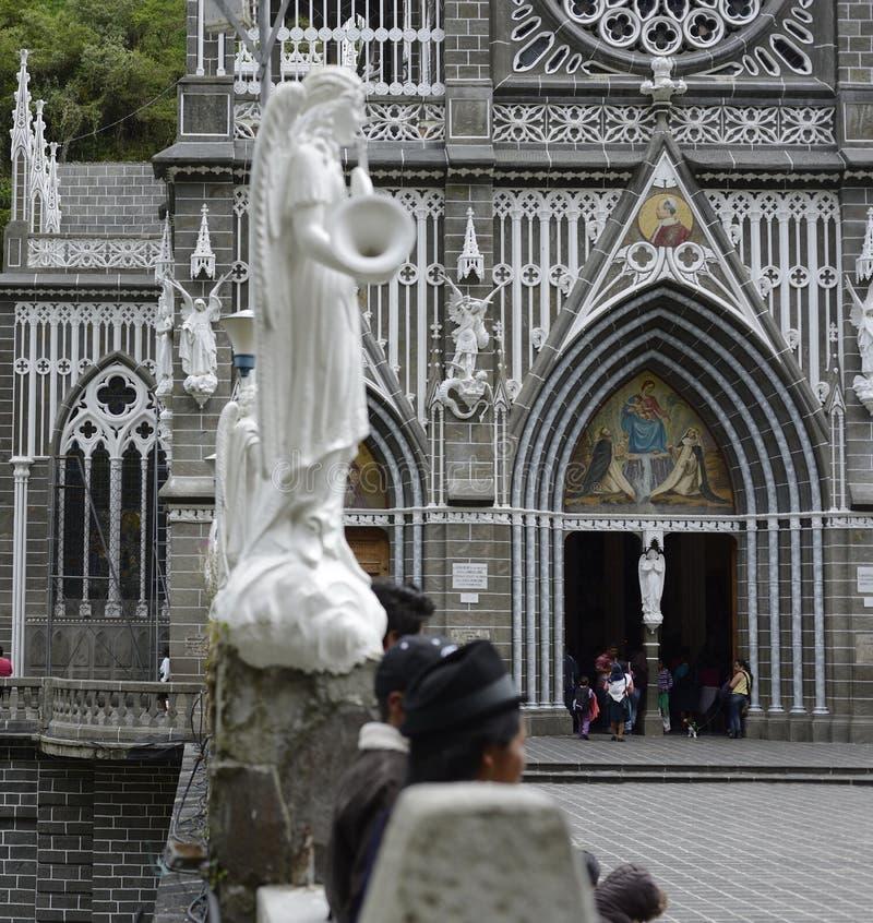 Las Lajas - gotische kerk in Colombia royalty-vrije stock fotografie