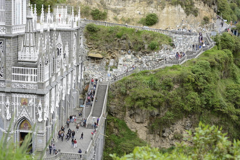 Las Lajas - gotische kerk in Colombia royalty-vrije stock foto