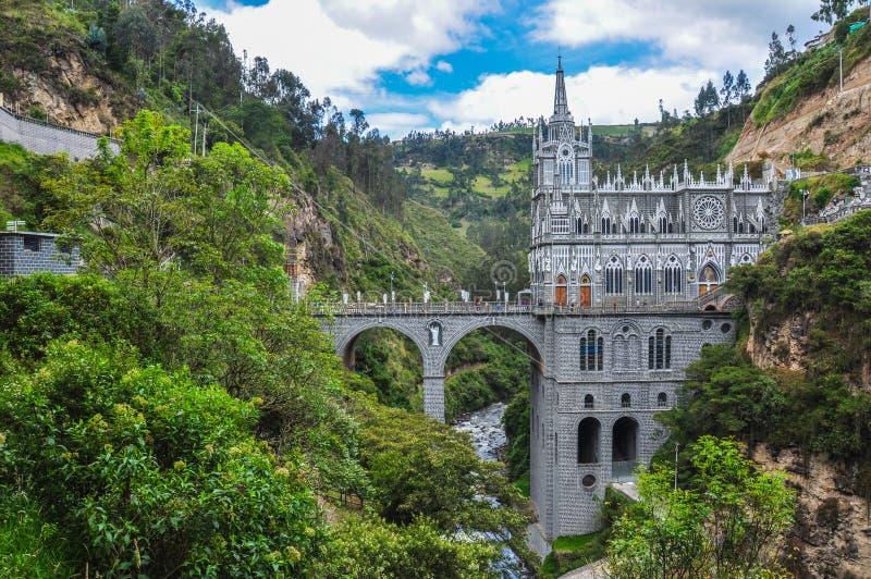 Las Lajas kyrka i söder av Colombia royaltyfria bilder