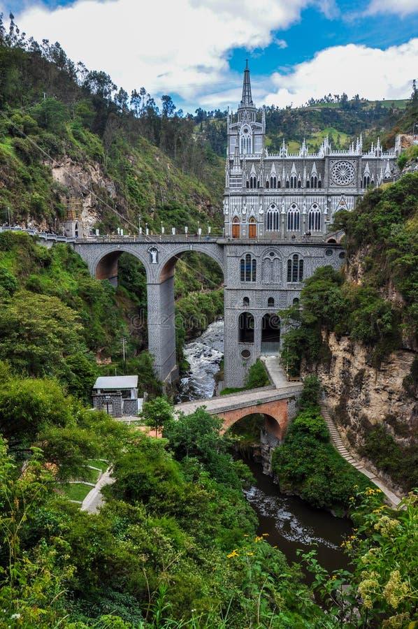 Las Lajas kyrka i söder av Colombia royaltyfri bild