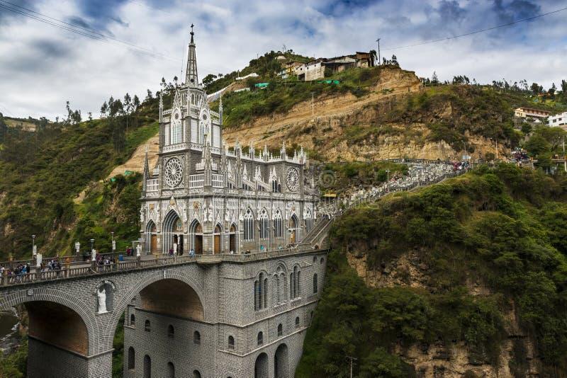 Las Lajas Sanctuary Santuario de Las Lajas的看法在伊皮亚莱斯,哥伦比亚 库存照片