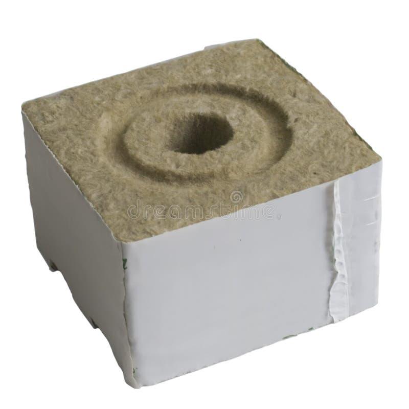 Las lanas de roca del hidrocultivo crecen Blcok con el agujero imágenes de archivo libres de regalías