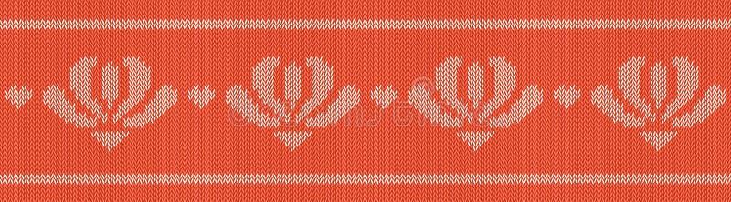 Las lanas del telar jacquar hicieron punto el modelo con las flores blancas en el fondo rojo, vector inconsútil en el tema del dí ilustración del vector