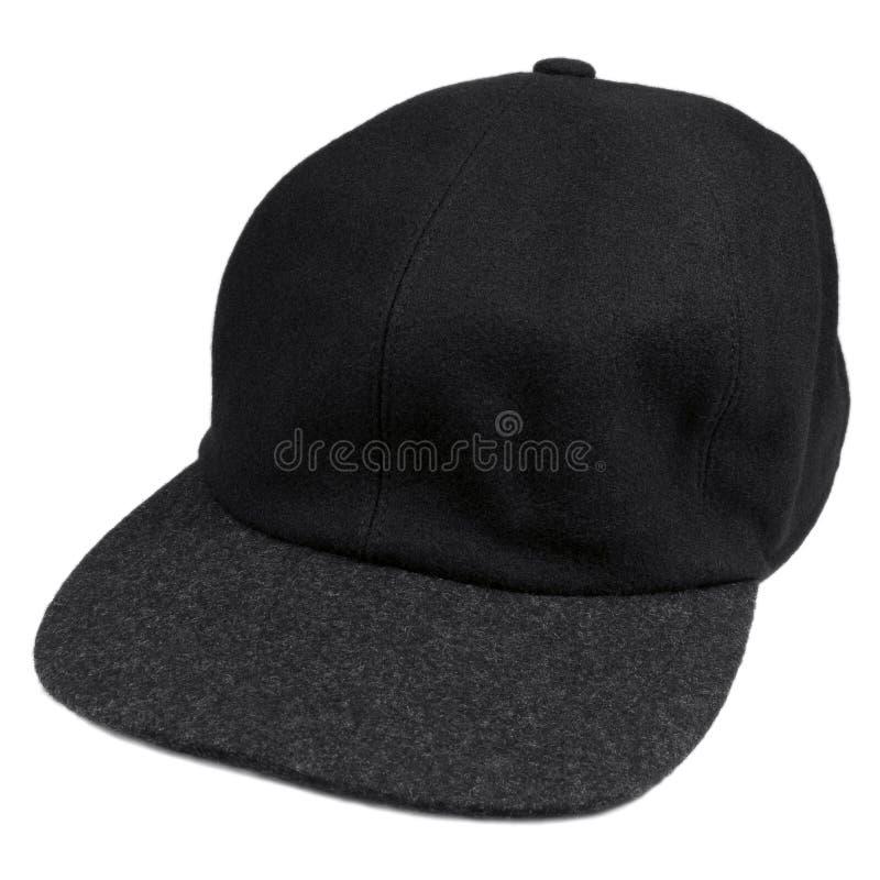 Las lanas finas ennegrecen el casquillo del estilo del béisbol con el borde gris, el sombrero caliente aislado de los hombres par fotos de archivo