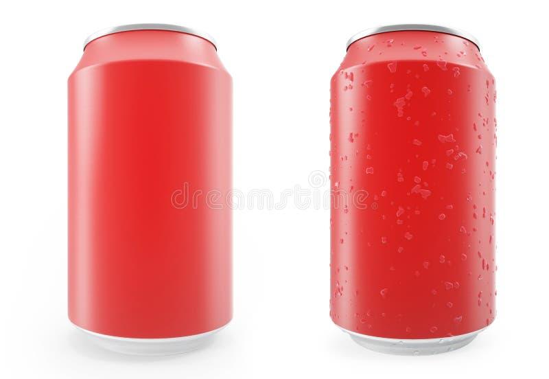 Las latas de aluminio rojas determinadas, mojaron con descensos y fuera, aislado en el fondo blanco libre illustration