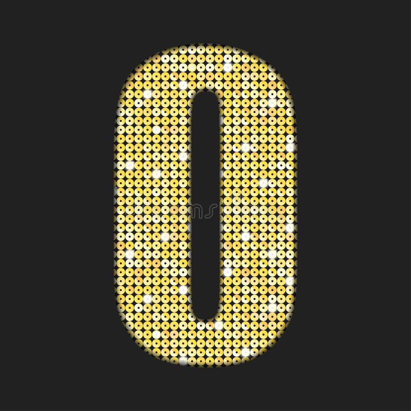 Las lentejuelas del oro del vector numeran - cero Fuente del brillo ilustración del vector