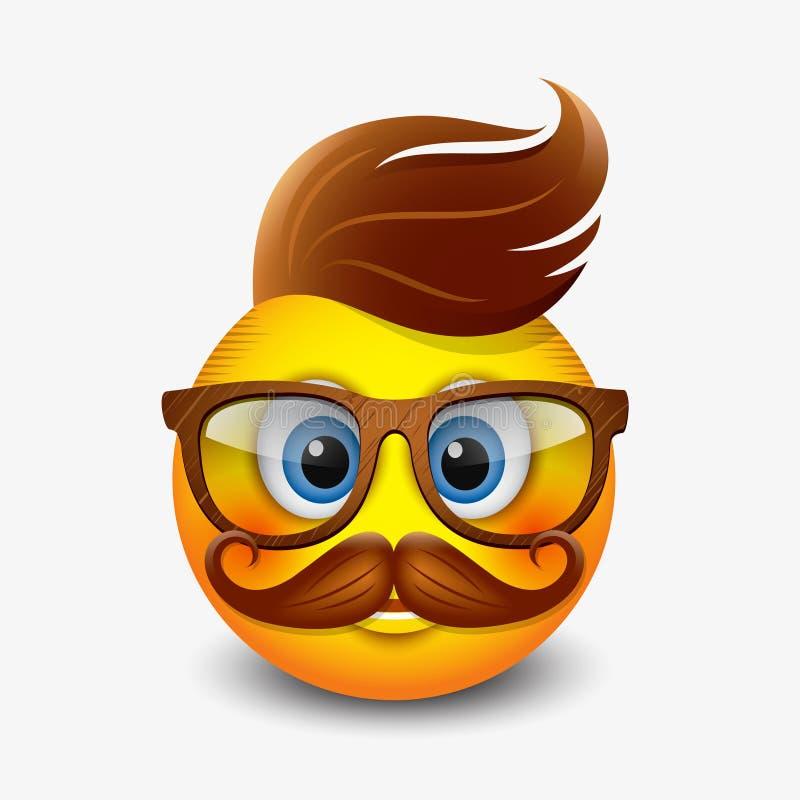 Las lentes que llevan del emoticon lindo del inconformista y con el jengibre oyen y los bigotes, emoji, smiley - vector el ejempl libre illustration
