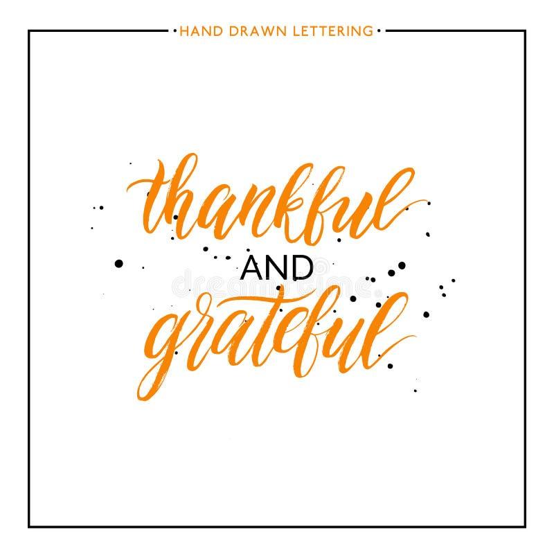 Las letras agradecidas y agradecidas con negro salpican stock de ilustración