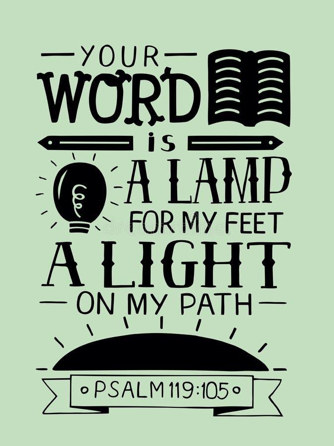 Las letras bíblicas su palabra son una lámpara para mis pies, una luz en mi trayectoria stock de ilustración