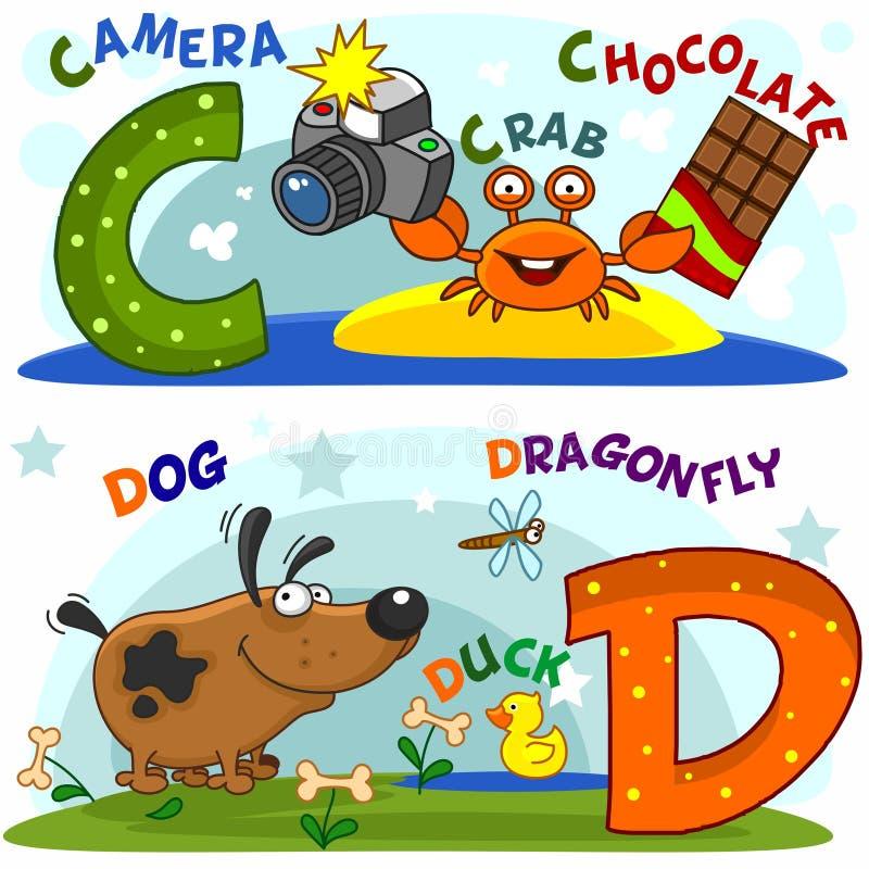 Las letras c y d ilustración del vector