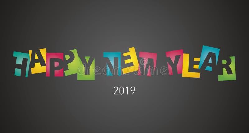 Las letras coloridas del espacio negativo de la Feliz Año Nuevo 2019 ennegrecen el fondo del paisaje ilustración del vector