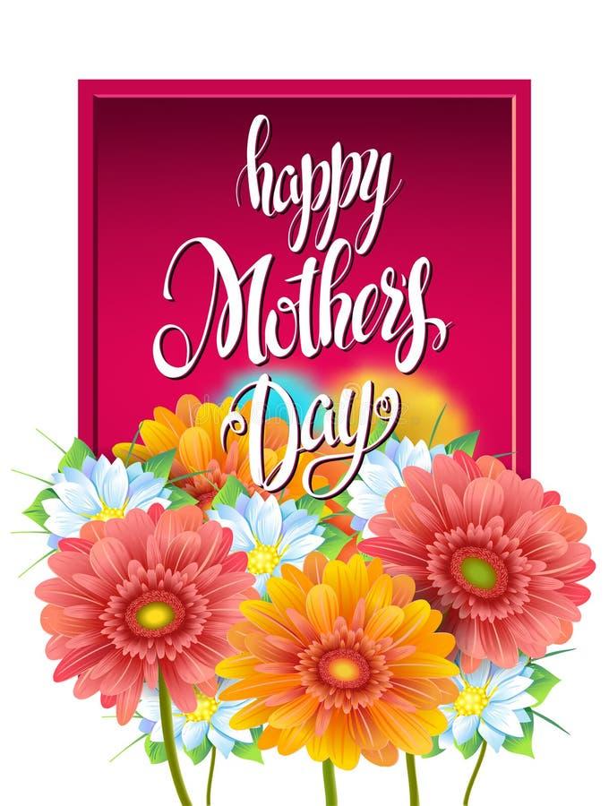 Las letras de día de madres, cartel, publicidad de la primavera florecen a Gerber ilustración del vector