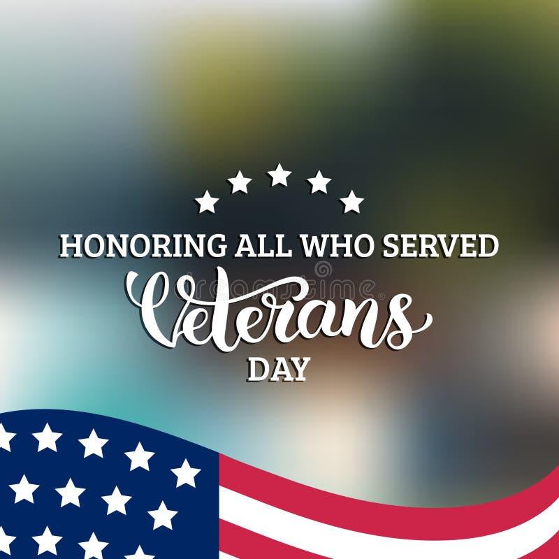 Las letras de día felices de veteranos con los E.E.U.U. señalan el ejemplo del vector por medio de una bandera 11 de noviembre fo stock de ilustración