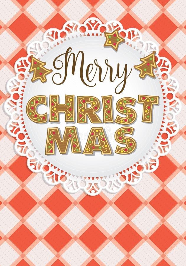 Las letras de la Feliz Navidad formaron por las galletas del pan de jengibre en una placa blanca adornada con las galletas árbol- ilustración del vector