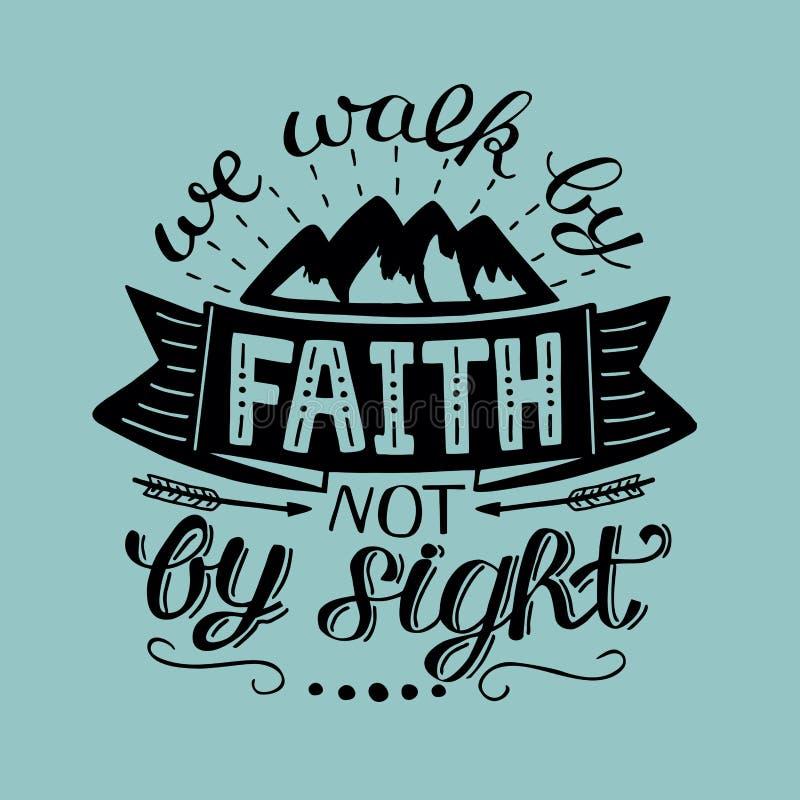 Las letras de la mano caminamos por la fe, no por vista libre illustration