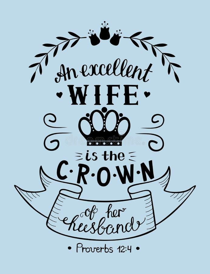 Las letras de la mano con el fondo bíblico una esposa excelente son la corona de su marido proverbios libre illustration
