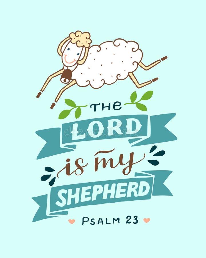 Las letras de la mano con las ovejas el señor son mi pastor stock de ilustración