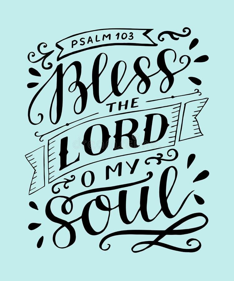 Las letras de la mano con verso de la biblia bendicen al señor, o mi alma salmo ilustración del vector