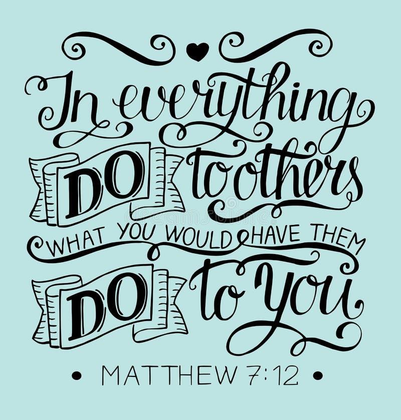 Las letras de la mano con verso de la biblia en todo hacen a otras qué usted hizo que él hiciera a usted matthew libre illustration