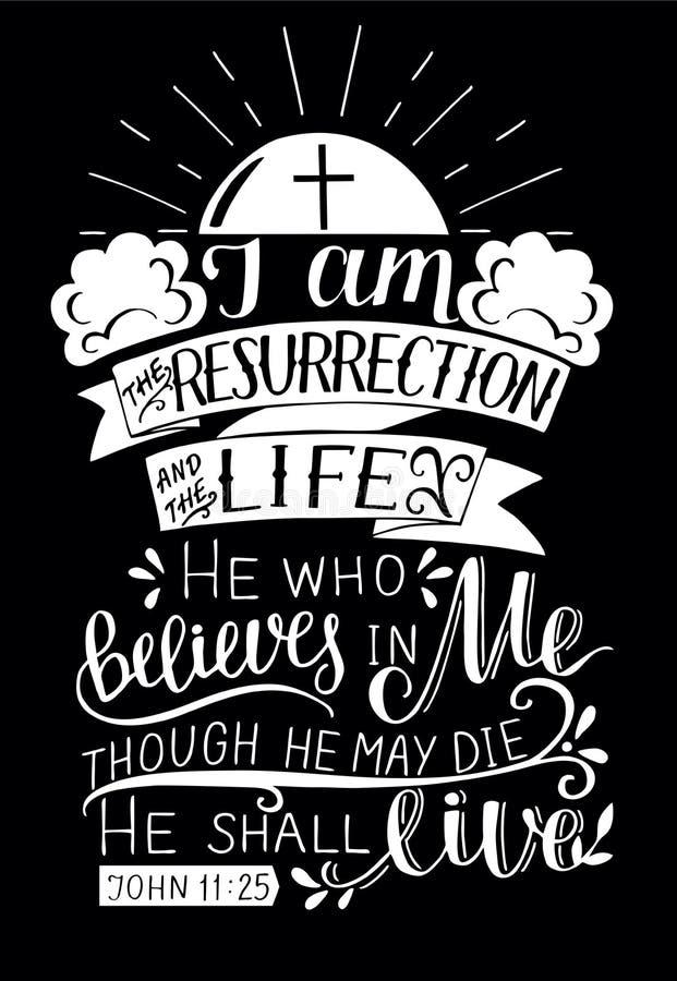 Las letras de la mano con verso de la biblia soy la resurrección y la vida en fondo negro stock de ilustración