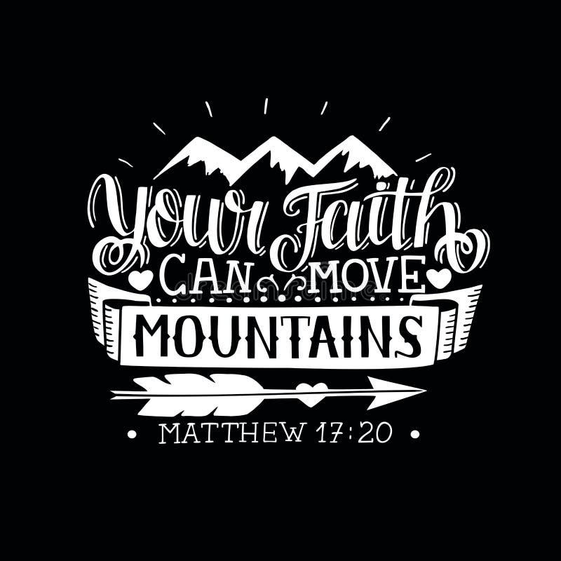 Las letras de la mano con verso de la biblia su fe pueden mover las montañas en fondo negro ilustración del vector