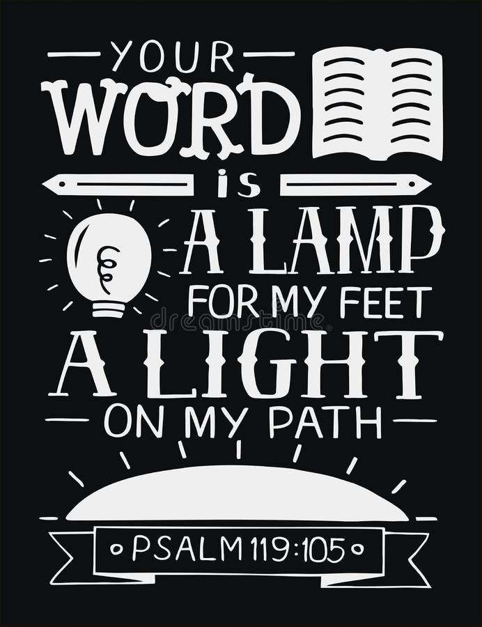 Las letras de la mano con verso de la biblia su palabra son una lámpara para mis pies, una luz en mi trayectoria en fondo negro s ilustración del vector