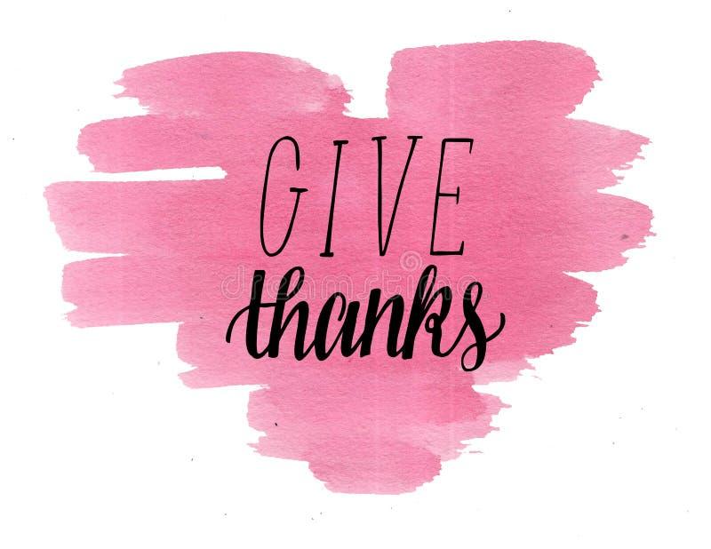 Las letras de la mano dan gracias en corazón de la acuarela stock de ilustración