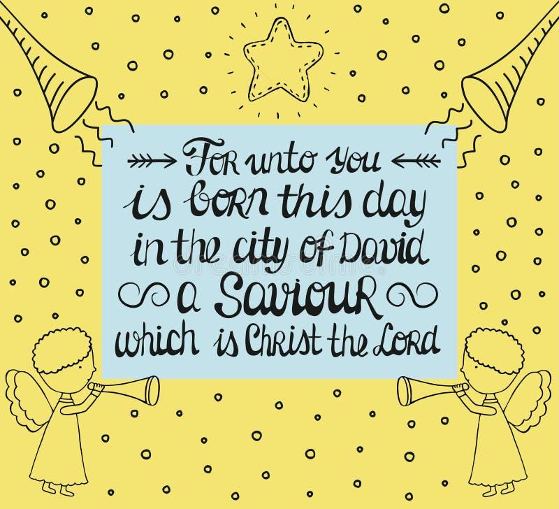 Las letras de la mano para a usted nacen en la ciudad de David al salvador, que es Cristo el señor con la estrella y ángeles libre illustration
