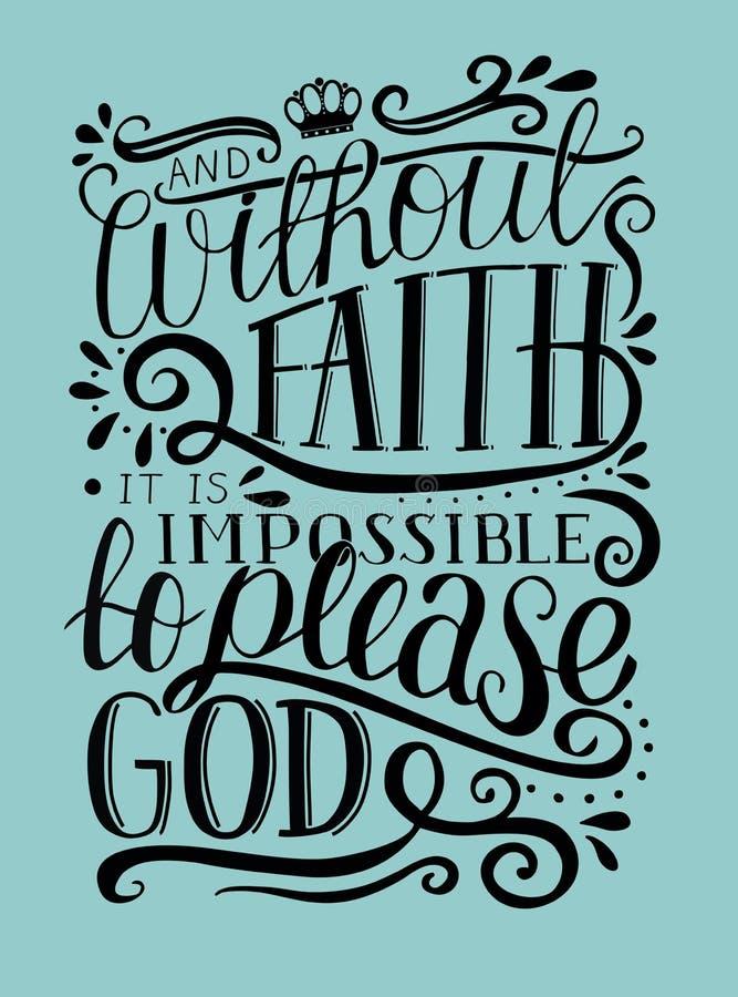Las letras de la mano y sin la fe es imposible por favor a dios en fondo azul stock de ilustración