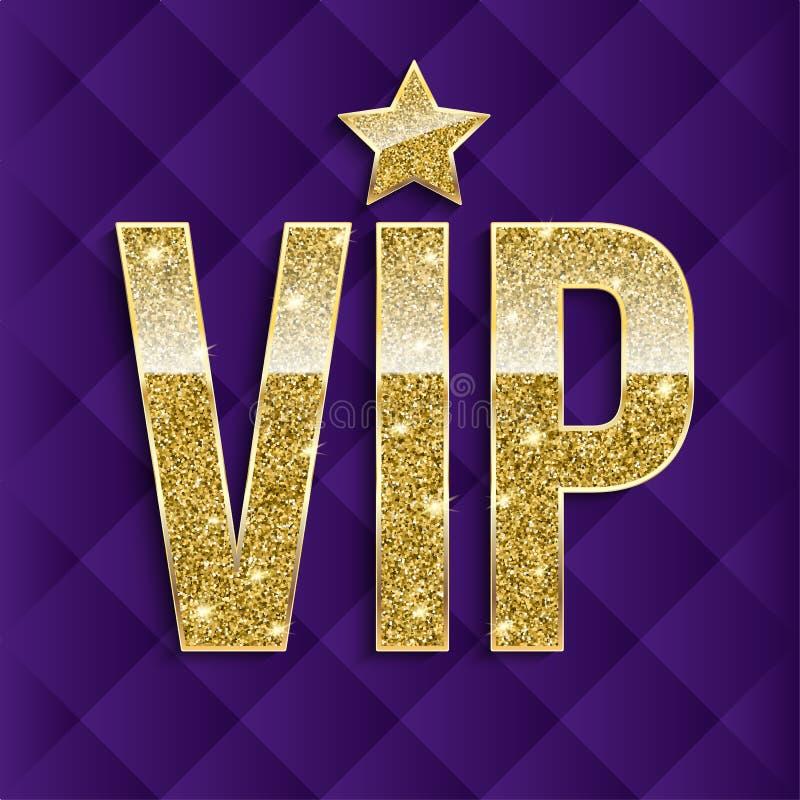 Las letras de oro del VIP con brillo en extracto acolcharon el fondo, tarjeta de lujo Símbolo de oro de la exclusividad muy libre illustration