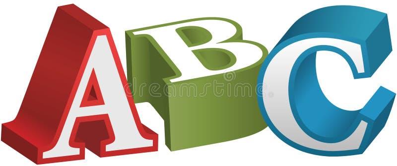 Letras de enseñanza del alfabeto de la fuente de ABC ilustración del vector