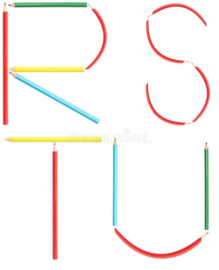 Las letras del alfabeto de los lápices del colorante fijaron el R-U ilustración del vector