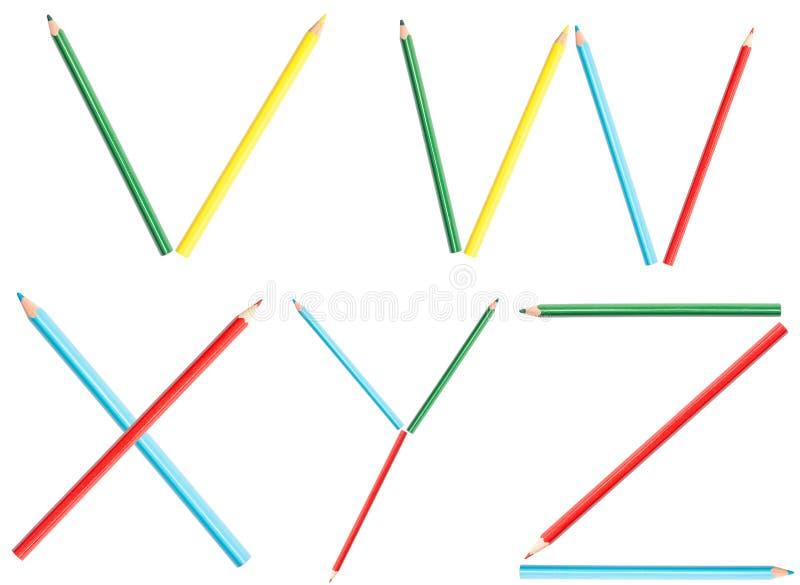 Las letras del alfabeto de los lápices del colorante fijaron V-Z imagen de archivo