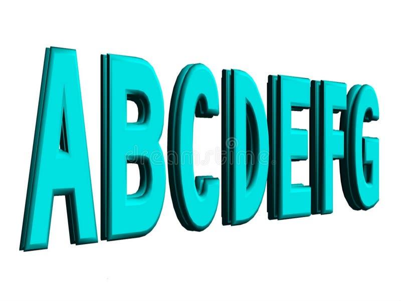 Las letras del alfabeto presentado en 3d aislaron en un fondo blanco ilustración del vector
