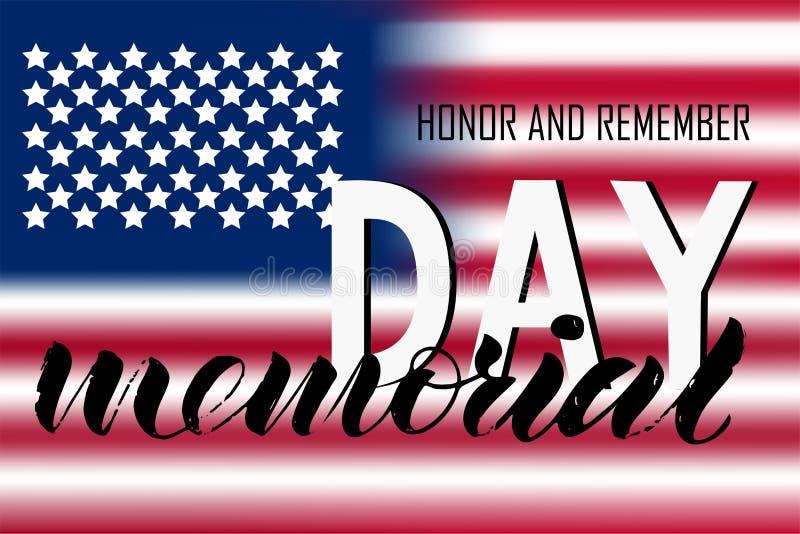 Las letras del honor del Memorial Day y recuerdan ilustración del vector