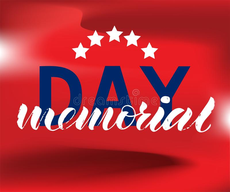 Las letras del honor del Memorial Day y recuerdan en fondo rojo libre illustration