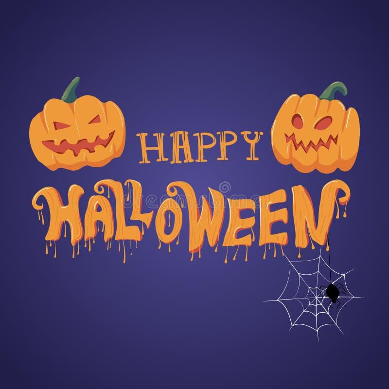 Las letras del vector del feliz Halloween con la calabaza, la caligrafía, la araña y el web para la bandera, cartel, tarjeta de f stock de ilustración