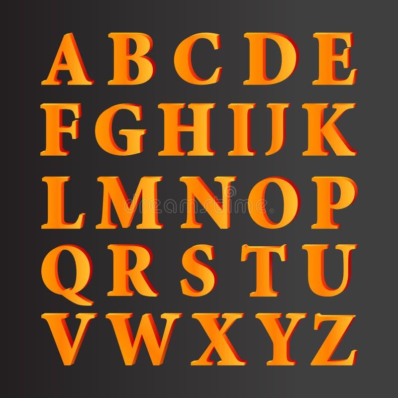 Las letras determinadas del alfabeto del vector 3D con pendiente llenan libre illustration