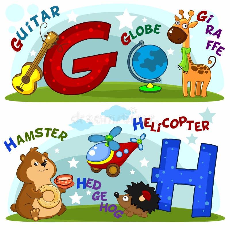 Las letras g y h stock de ilustración