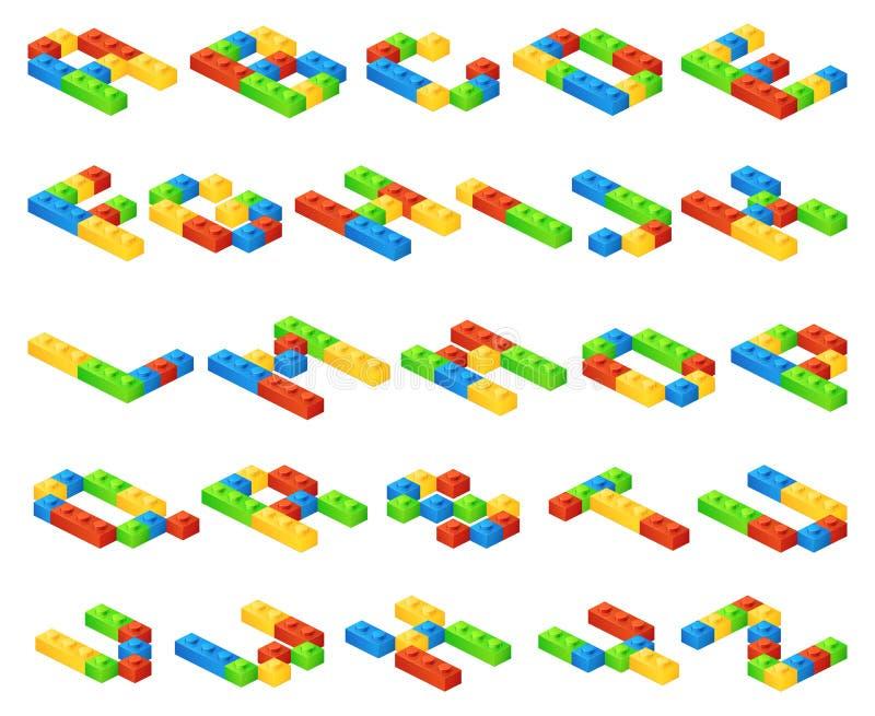Las letras isométricas del alfabeto del vector 3D hechas del plástico cubican al constructor ilustración del vector