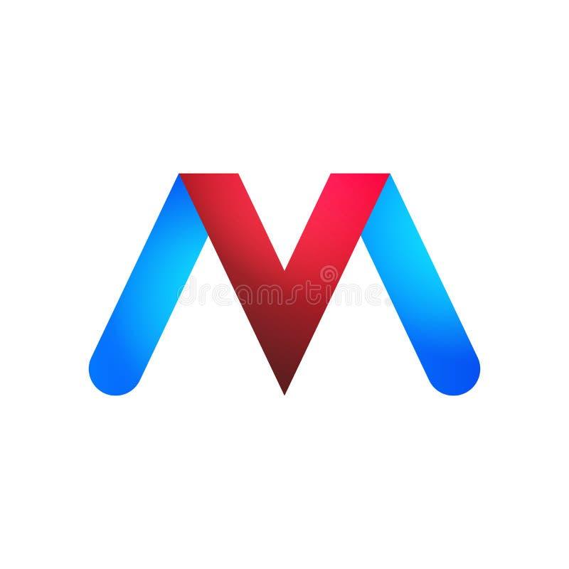 Las letras V y M de los logotipos en azul y rojo libre illustration
