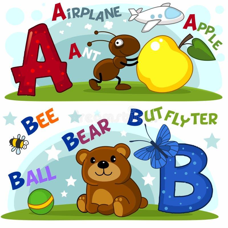 Las letras a y b ilustración del vector