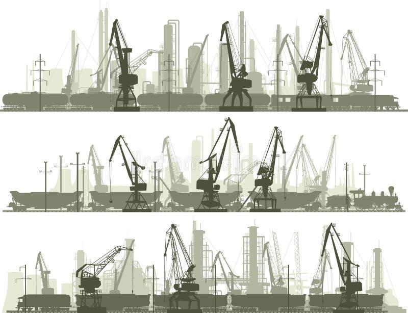 Las lineas horizontales de la ciudad industrial con la grúa del cargo se elevan ilustración del vector