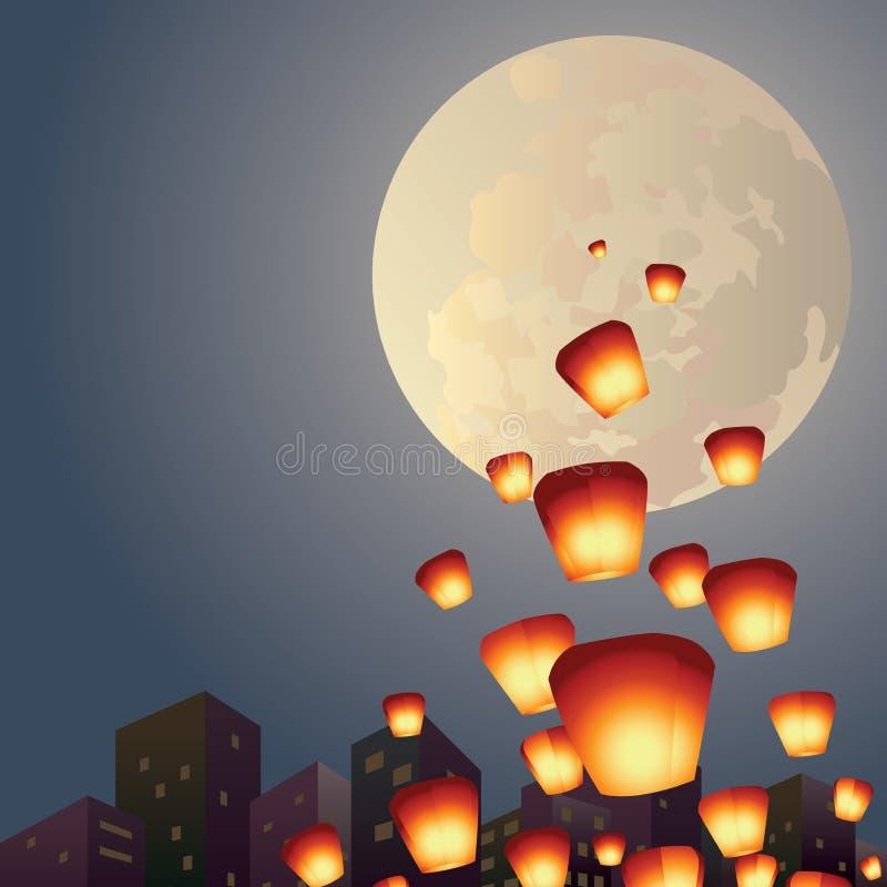 Las linternas del deseo vuelan sobre la Luna Llena stock de ilustración