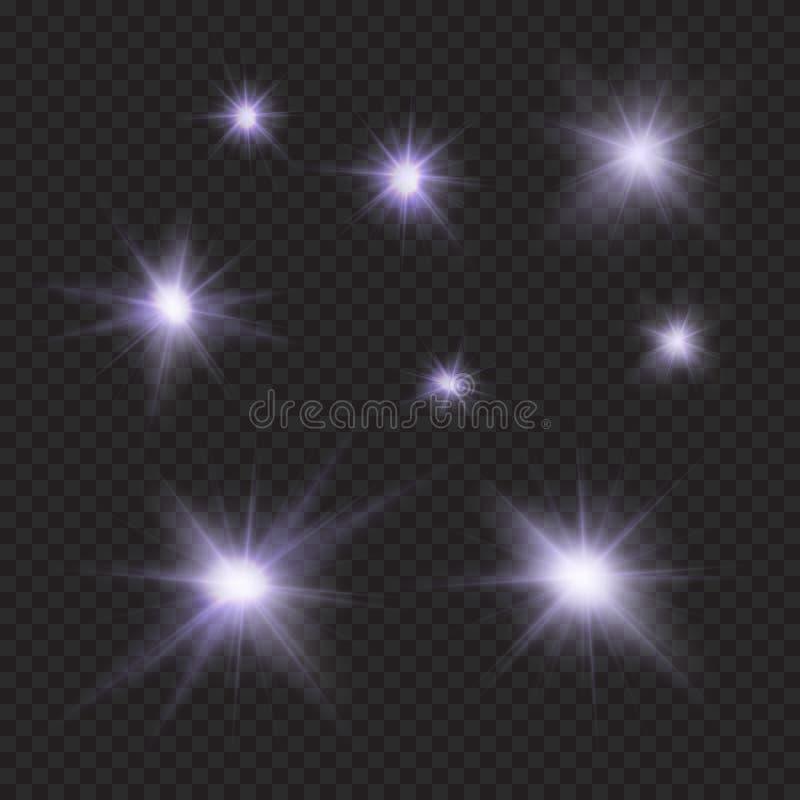 Las llamaradas, chispas, rayos, emiten efectos ligeros del vector ilustración del vector
