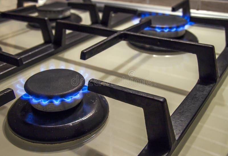 Las llamas azules de gas del avellanador ardiente de la estufa se cierran para arriba en la oscuridad en un blac imagenes de archivo